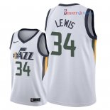 Utah Jazz - Maillot NBA Trey Lewis 34 Blanc Association 2018