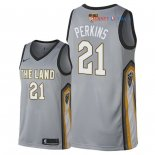 Cleveland Cavaliers - Maillot NBA Kendrick Perkins 21 Nike Gris Ville Patch 2018 Finales Champions