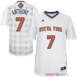 New York Knicks - Maillot NBA Anthony 7 Blanc Nuits Latine Manche Courte