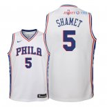 Philadelphia Sixers - Maillot Junior NBA Landry Shamet 5 Blanc Association 2018