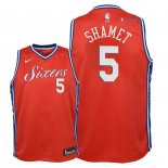 Philadelphia Sixers - Maillot Junior NBA Landry Shamet 5 Rouge Statement 2018