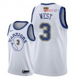 Golden State Warriors - Maillot NBA David West 3 Retro Blanc 2018 Finales Champions