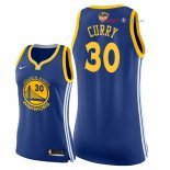 Golden State Warriors - Maillot Femme NBA Stephen Curry 30 Bleu Icon Patch 2018 Finales Champions