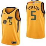 Utah Jazz - Maillot NBA David Stockton 5 Jaune Statement 2017/2018