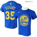 Golden State Warriors - Maillot NBA Kevin Durant 35 Nike Bleu Manche Courte 2017/2018