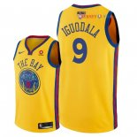 Golden State Warriors - Maillot NBA Andre Iguodala 9 Jaune Ville Patch 2018 Finales Champions