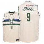 Milwaukee Bucks - Maillot Junior NBA Donte DiVincenzo 9 Nike Crème Ville 2018