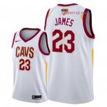 Cleveland Cavaliers - Maillot NBA LeBron James 23 Blanc Association Patch 2018 Finales Champions