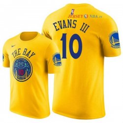 Golden State Warriors - Maillot NBA Jacob Evans III 10 Jaune Manche Courte 2018