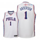 Philadelphia Sixers - Maillot Junior NBA Justin Anderson 1 Blanc Association 2018