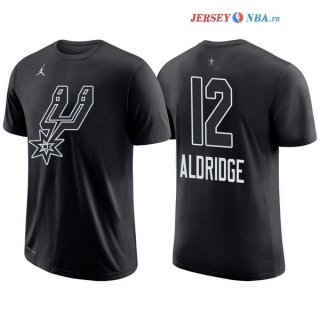 2018 All Star - Maillot NBA LaMarcus Aldridge 12 Noir Manche Courte
