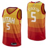 Utah Jazz - Maillot NBA David Stockton 5 Nike Jaune Ville 2017/2018