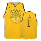 Golden State Warriors - Maillot Junior NBA Damion Lee 1 Jaune Earned Edition