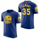 Golden State Warriors - Maillot NBA Kevin Durant 35 Bleu Manche Courte 2017/2018