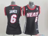 Miami Heat - Maillot Femme NBA LeBron James 6 Noir Rouge