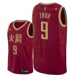 Houston Rockets - Maillot NBA Zhou Qi 9 Nike Rouge Ville 2018/2019