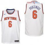 New York Knicks - Maillot Junior NBA Kristaps Porzingis 6 Blanc Association