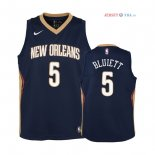 New Orleans Pelicans - Maillot Junior NBA Trevon Bluiett 5 Marine Icon 2018