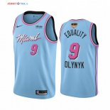 Miami Heat - Maillot NBA Kelly Olynyk 9 Equality Bleu Ville 2020 Finales Champions