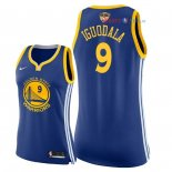 Golden State Warriors - Maillot Femme NBA Andre Iguodala 9 Bleu Icon Patch 2018 Finales Champions