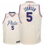 Philadelphia Sixers - Maillot Junior NBA Amir Johnson 5 Nike Crème Ville 2018