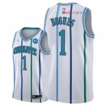 Charlotte Hornets - Maillot NBA Tyrone Bogues 1 Retro Blanc 30 Anniversaire 2018/2019