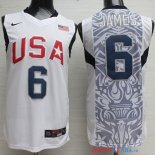 2008 USA - Maillot NBA James 6 Blanc