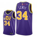 Utah Jazz - Maillot NBA Trey Lewis 34 Retro Pourpre 2018