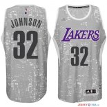 Los Angeles Lakers - Maillot NBA Johnson 32 Gris Ville Lumières