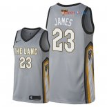 Cleveland Cavaliers - Maillot NBA LeBron James 23 Nike Gris Ville Patch 2018 Finales Champions