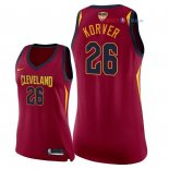 Cleveland Cavaliers - Maillot Femme NBA Kyle Korver 26 Rouge Icon Patch 2018 Finales Champions