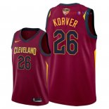 Cleveland Cavaliers - Maillot NBA Kyle Korver 26 Rouge Icon Patch 2018 Finales Champions