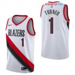 Portland Trail Blazers - Maillot NBA Evan Turner 1 Blanc Association 2017/2018
