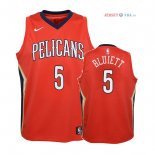 New Orleans Pelicans - Maillot Junior NBA Trevon Bluiett 5 Rouge Statement 2018