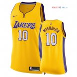 Los Angeles Lakers - Maillot Femme NBA Sviatoslav Mykhailiuk 10 Jaune Icon 2018