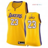 Los Angeles Lakers - Maillot Femme NBA LeBron James 23 Jaune Icon 2018