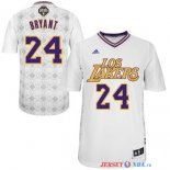 Los Angeles Lakers - Maillot NBA Bryant 24 Blanc Nuits Latine Manche Courte