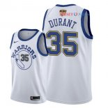 Golden State Warriors - Maillot NBA Kevin Durant 35 Retro Blanc 2018 Finales Champions