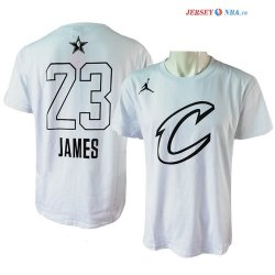 2018 All Star - Maillot NBA LeBron James 23 Blanc Manche Courte