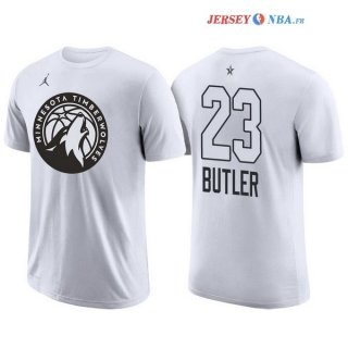 2018 All Star - Maillot NBA Jimmy Butler 23 Blanc Manche Courte